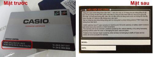 thẻ bảo hành Casio chính hãng